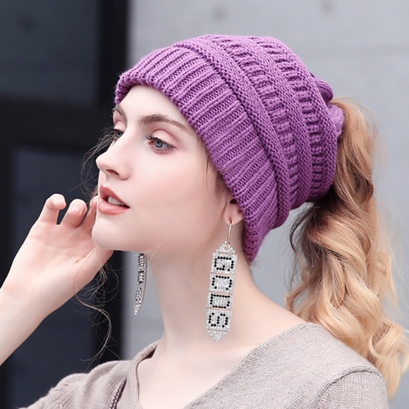 CC Soft Knit Purple Ponytail (Messy Bun) Beanie 40ff72380ba4